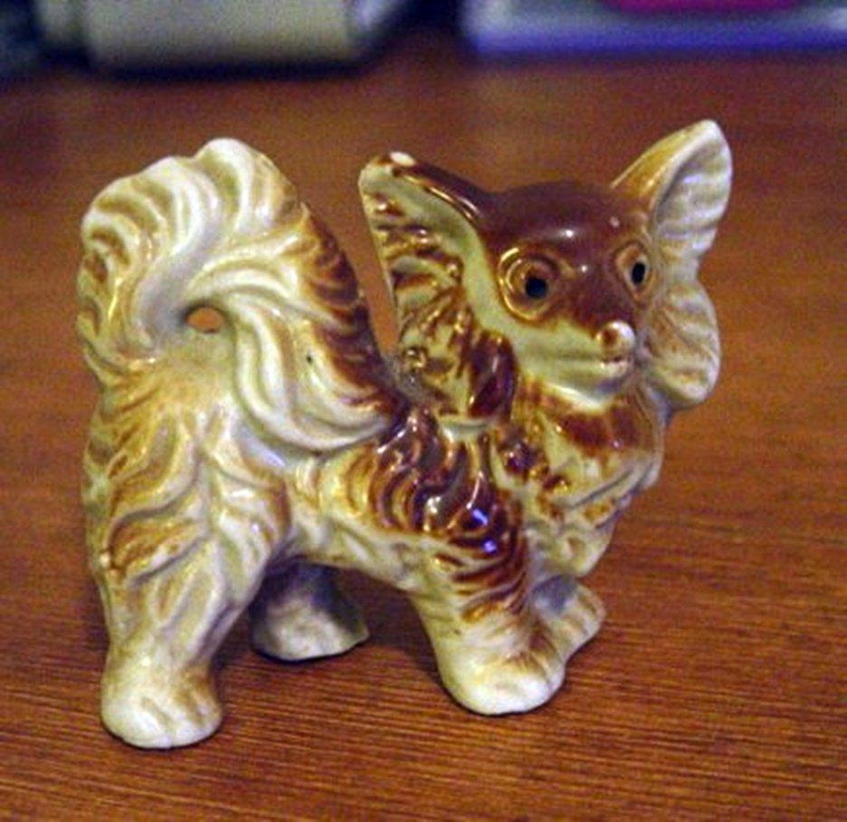 Old Vintage Porcelain Red Pomeranian Dog Figurine Made in Japan #300774