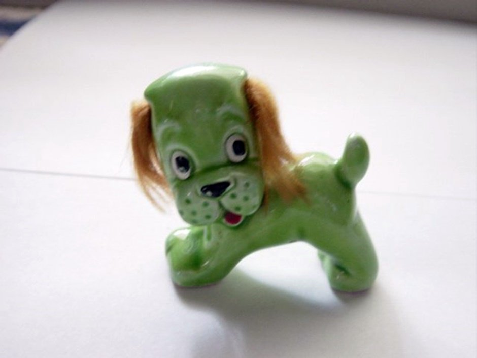Small Vintage Green Puppy with Hair Ears #300089