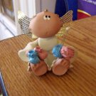 Russ Berrie Angel Cheeks Guardian Angel Figurine Knitted Booties #301745