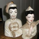 Asian Couple Bust Figurines Dressed in White and Gold #301740