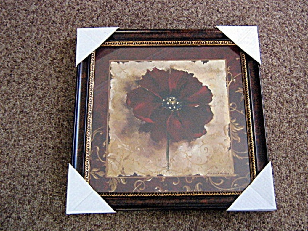 "10 1/2"" Framed Burgundy Flower Floral Painting Signed Richard A Hensen #301624"
