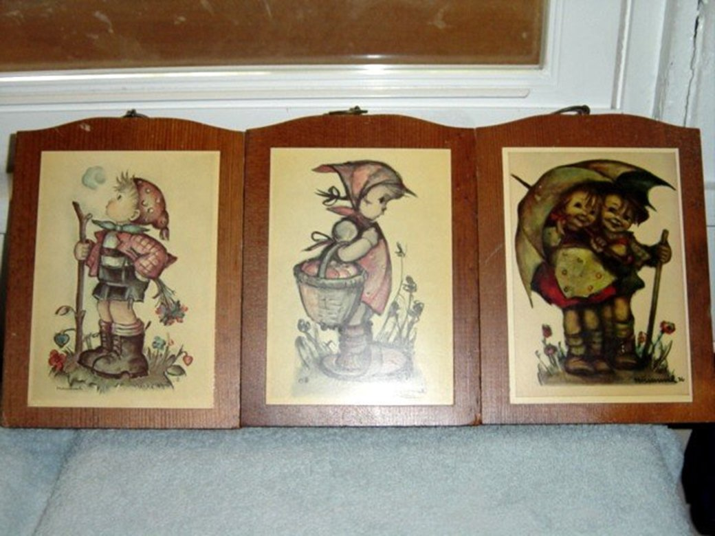 Set of Three Wooden Hummel Prints Signed #300007