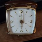 Vintage Linden Travel Alarm Clock Japan Brown Leather Case #301789