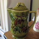Vintage Green Porcelain Teapot Decorated with Fruit #301942
