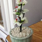 Small Asian Glass Jade Bonsai Tree Flower Arrangement #301926