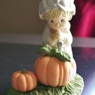 1989 Precious Moments Plastic Enesco Fall and Pumpkin Girl Figurine #300658