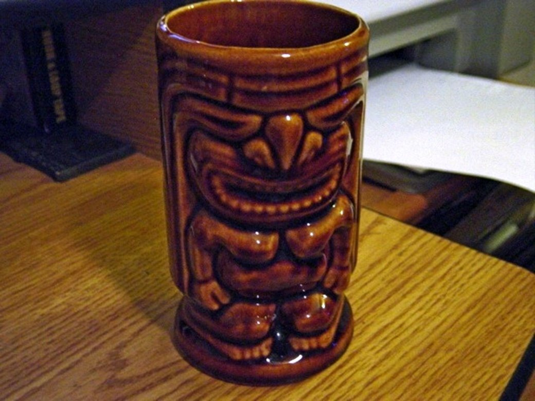 Dark Brown Angry God Tiki Glass Mug at Periwinkles #301342