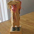 1973 Vintage Mexican Folk Art Wooden Figurine Hunchback Man with Mask #301414