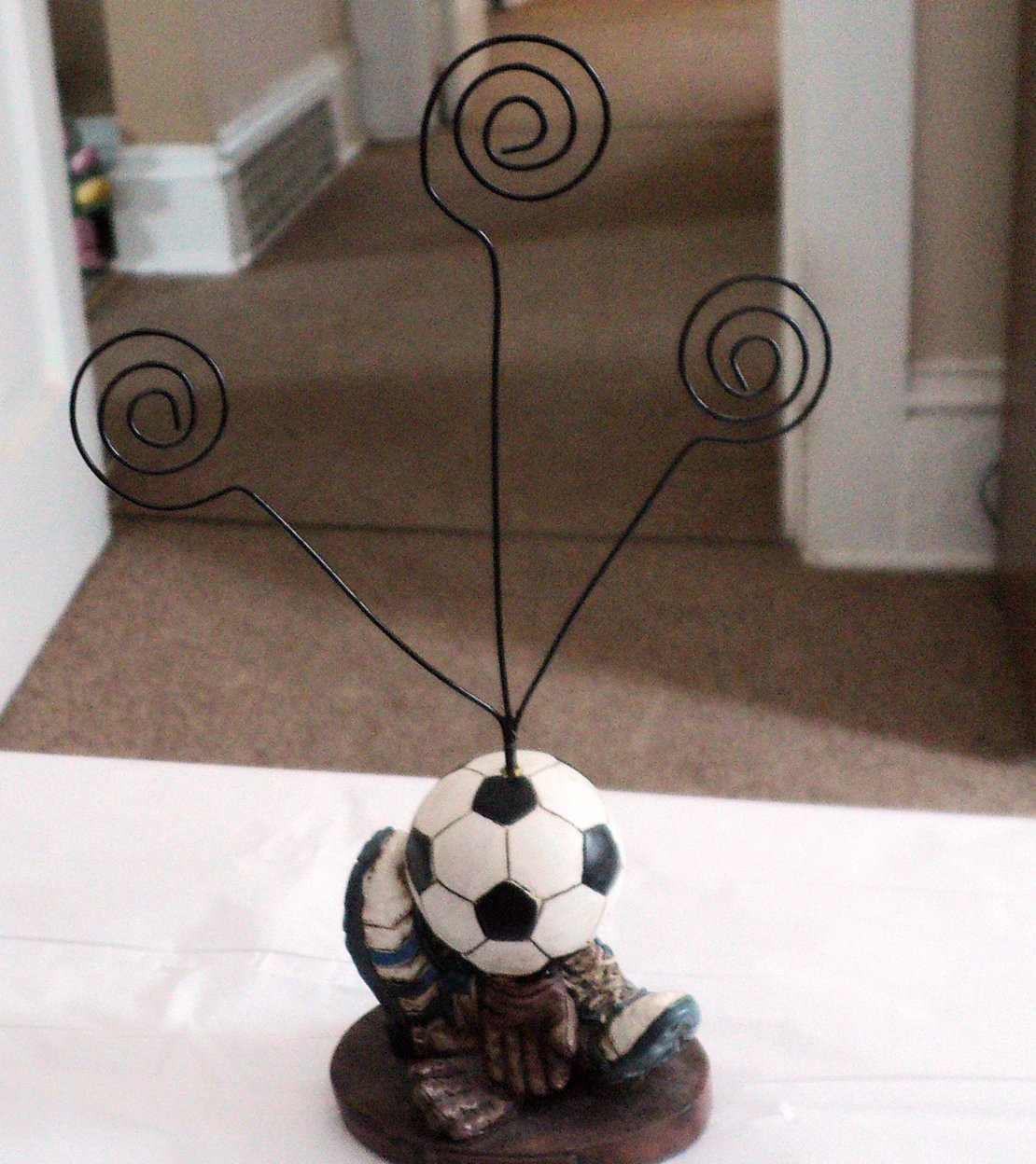 Wire Metal Football Soccer Note Card Photo Holder #301947