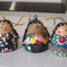 Set of Three Small Indian Women Terra Cotta Bells  #301144