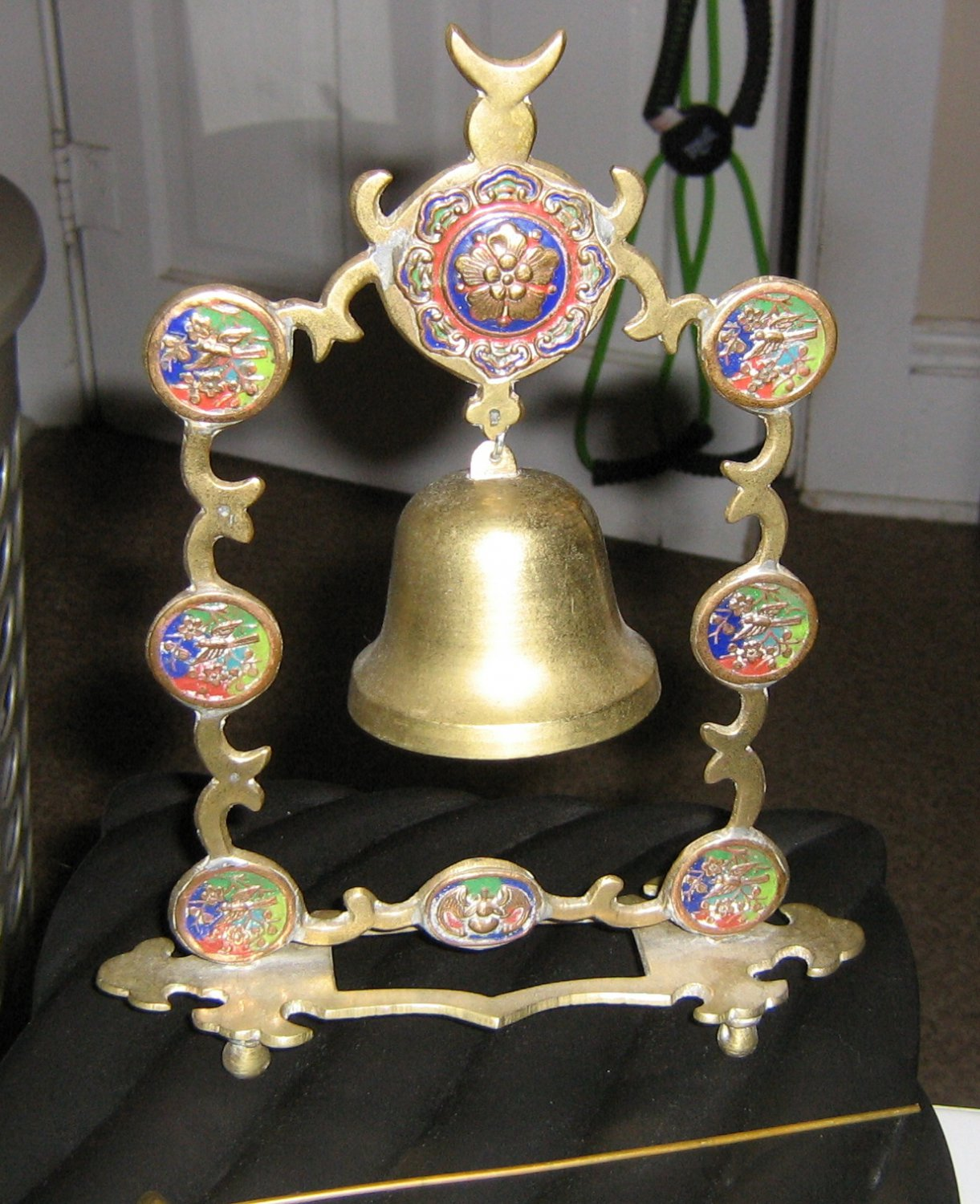 Vintage Cloissoné Brass Dinner Gong Bell with Striker India  #301955