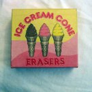 1982 Three Japanese Ice Cream Cone Erasers in Box #301542
