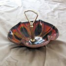 Vintage Brown Treasure Craft Candy Dish Colorful Interior and Center Handle #301640