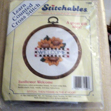 """NIP Dimensions Stitchables Cross Stitch Embroidery Kit """"Sunflower Welcome"""" with Hoop Frame  #301966"""