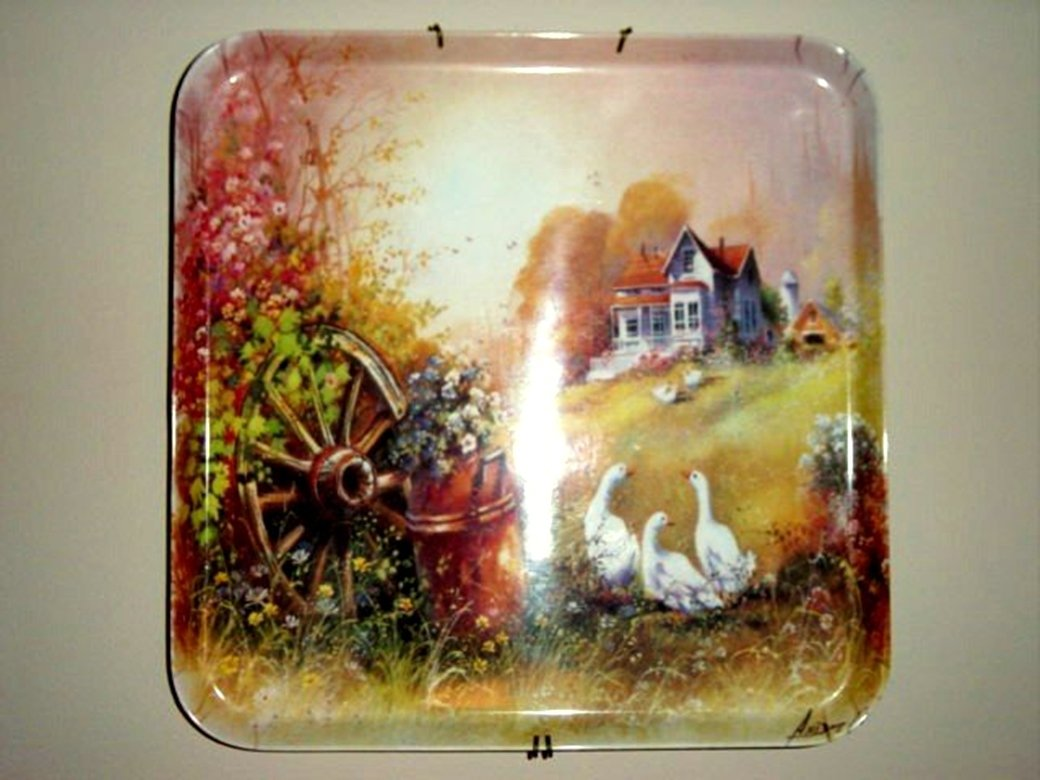 "12"" Square Farm Scene Tray Wall Decor Signed #300421"