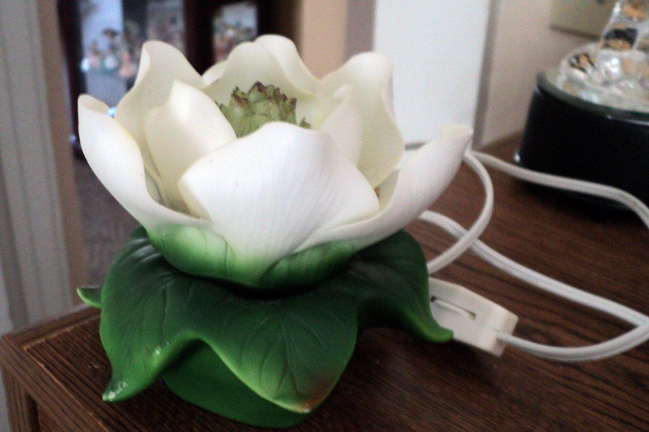 White Porcelain Lotus Flower Night Light  #301972