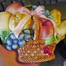 Fruit Basket Wall Sculpture Plaque Home Decor #301619