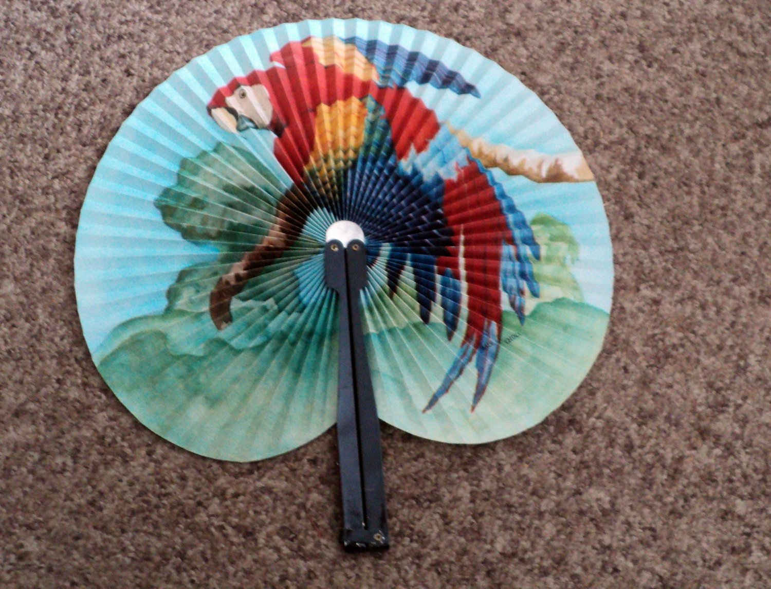 Vintage Parrot China Pocket Fan Made By Zhe Jiang Arts & Crafts Paper and Metal #301981