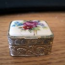 Vintage Brass Pill Box with Florals on the Porcelain Lid Made in Italy #301988