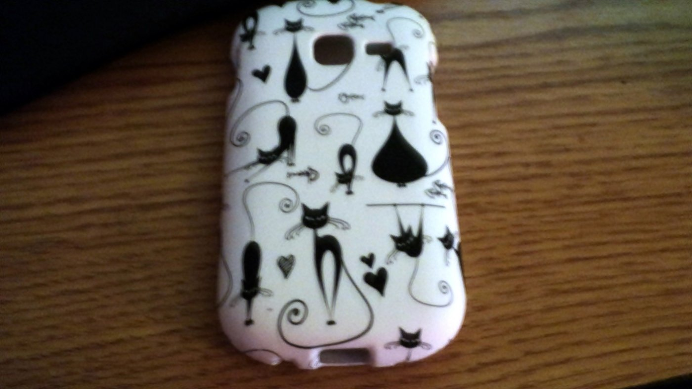 Samsung Galaxy Discover Rubberized Cell Phone Black Cats on White Case Cover #302016