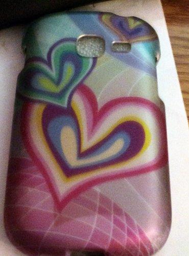 Samsung Galaxy Discover/ Centura-Rubberized Multi Color Heart Cell Phone Hard Case Cover #302017