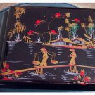 Vintage Hand Painted Black Lacquer Asian Dresser Chest Set #302064