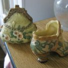 Ceramic Victorian Ladies Highheel Shoe and Purse Trinket Box #302076