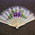 Folding Hand Fan Silk Chinese Classical Fan Asian Oriental with Gold Handle #302077