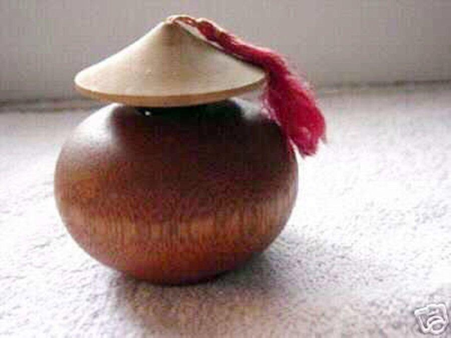 Vintage Wooden Asian Style Perfume Bottle #302086