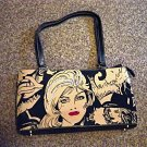 Black with Beige Rhinestone Cowgirl Fashion Handbag Purse#302091