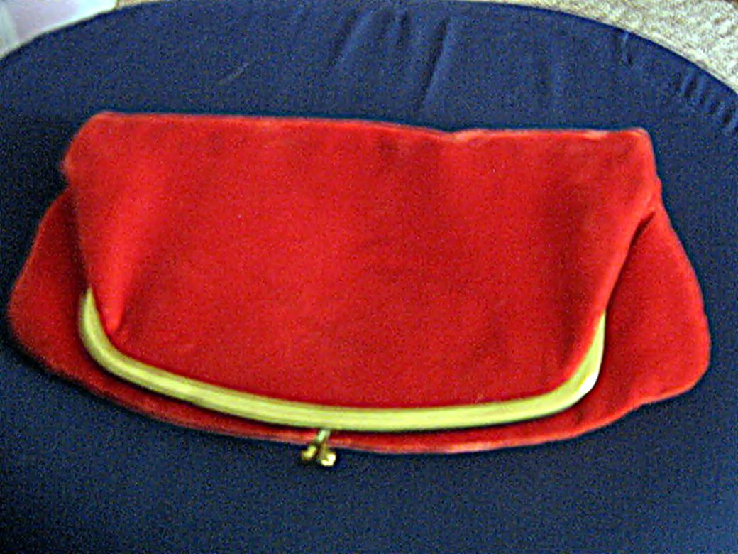 Vintage Red Velvet Clutch Handbag Purse #302162