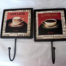Two Decorative Kitchen Coffee Cafe Latte Expresso Hooks Wall Decor Japan #302181