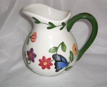 Hand Painted Pacific Rim Nature Butterfly Flowers Pitcher #302230