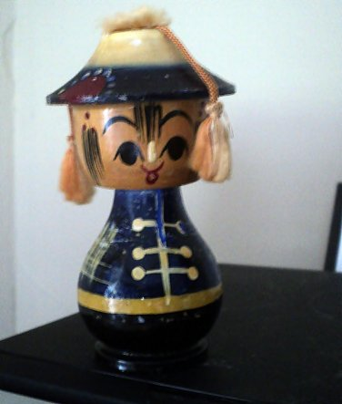 Vintage Wooden Asian Bobble Head Figurine #302233