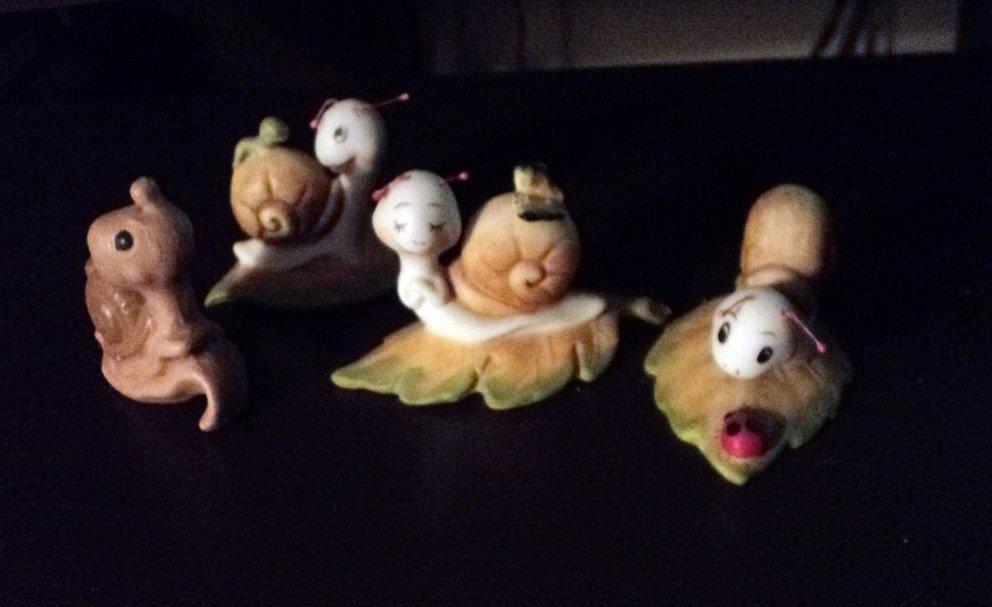 Vintage Set of Three Adorable Homco #8902 Snails Plus Brown One #302245