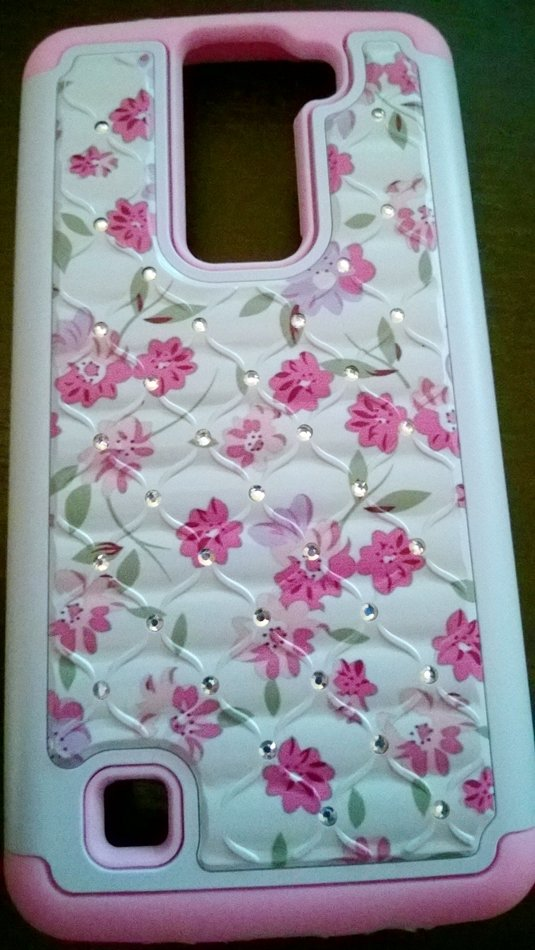 Luxury Pink and White Floral Hybrid Armor Bling Crystal Case for LG K8/Phoenix 2/Escape 3   #302255