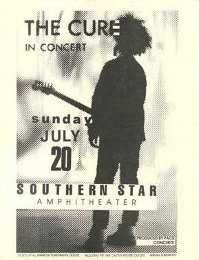 THE CURE ORIGINAL RARE'86 SOUTHERN STAR HANDBILL POSTER