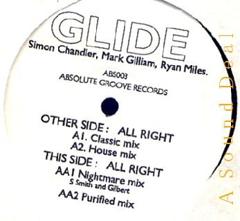 """GLIDE RARE '91 HARDCORE 12"""" ALL RIGHT ABSOLUTE GROOVE"""