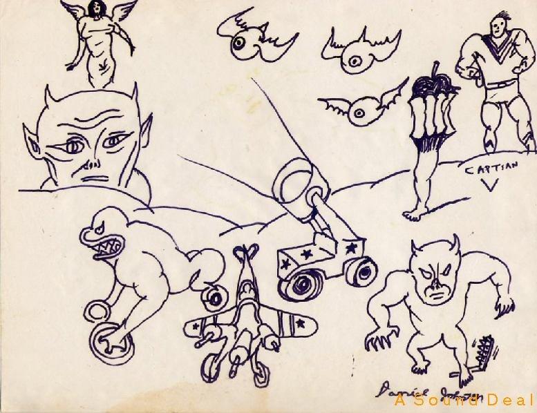 DANIEL JOHNSTON Outsider Art 11 Characters CAPTIAN V