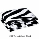 100% Egyptian Cotton, Color Zebra Print(Black & White) 1000 TC Queen Size Sheet Set.