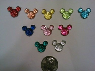 ASSORTED rhinestone flatback mouse heads lot of 45