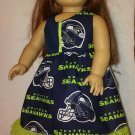 "Seattle Seahawk themed AG or 18"" Handmade doll dress"
