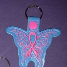 Cleft palate awareness ribbon butterfly key fob