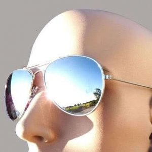 1 Aviator Sunglasses Silver Frame Mirror Lens Top Gun Shades
