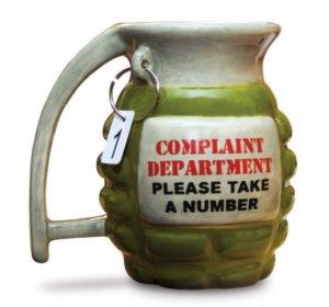 Grenade Coffee Mug Tea Kitchen Office Ceramic Shaped Complaint Department War