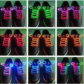 5 3-Mode LED Light UP Fiber Glow Flash ShoeLace Shoestring 19 Color to Choose