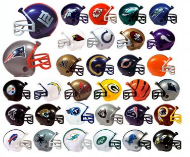 "NFL Collectible Mini Football Helmets Complete Set of 32 Teams 2"" Size Bulk"