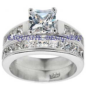 Gorgeous 2.2 carat Princess Cut Engagement Wedding Ring Set Size 5