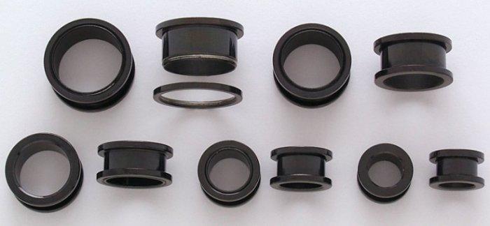 "Pair 1/2"" Inch Screw On Tunnels Ear Plugs Eyelets Black 12mm"