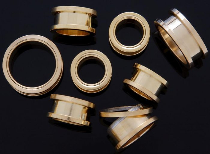 "Pair 9/16"" Inch Screw On Tunnels Ear Plugs Eyelets Gold 14mm"